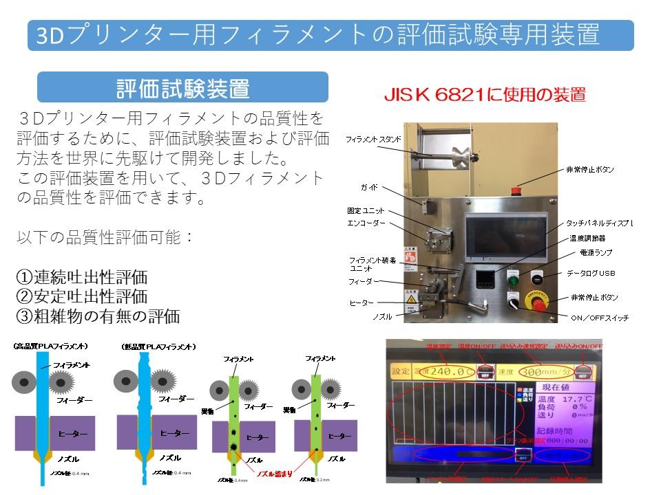 3Dプリンター用フィラメントの評価試験専用装置の説明図