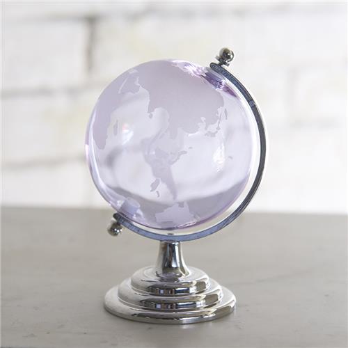ガラス地球儀 ライトパープル